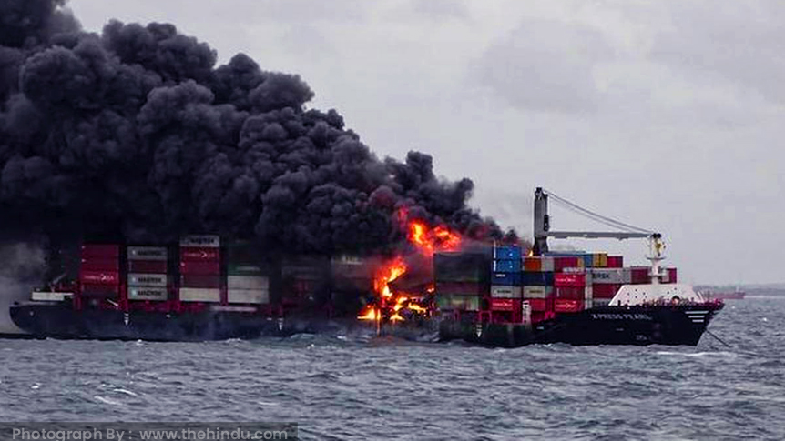 Smoke rises from the container vessel-X-Press Pearl